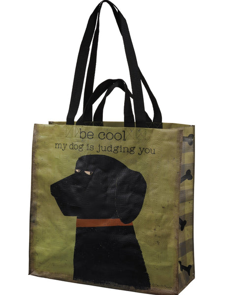 "Be Cool My Dog Is Judging You Market Tote Bag | 15.50"" x 15.25"" x 6"""