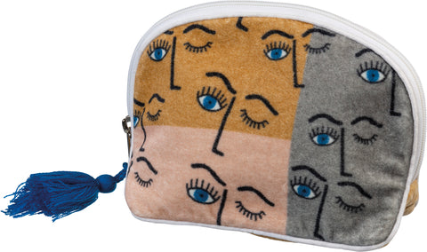 Winking Eye Color Block Zipper Pouch