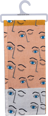 Winking Eye Color Block Multicolored Dish Cloth Towel / Novelty Tea Towels / Cute Kitchen Hand Towel