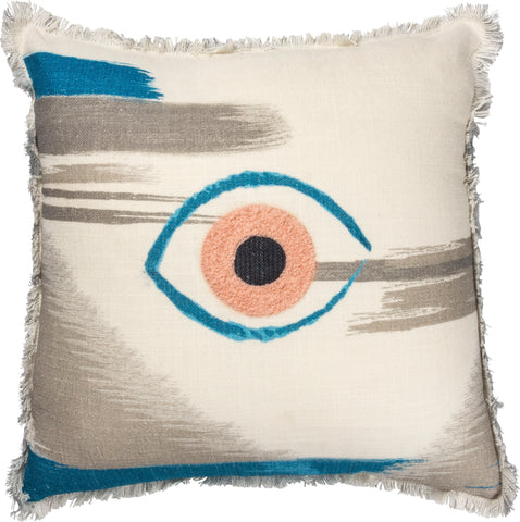 Single Eye Embroidered Throw Pillow in Pink and Blue | 1980s Memphis-Inspired Design