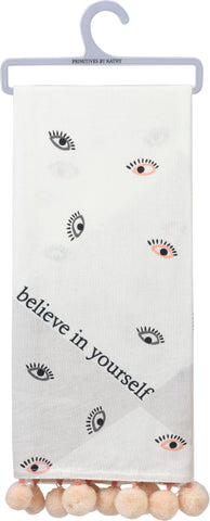 Believe In Yourself Pom Pom Trim Dish Cloth Towel | 1980s Memphis-Inspired Design