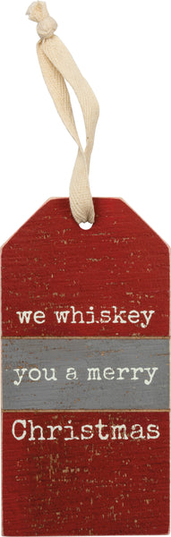 We Whiskey You A Merry Christmas Wooden Wine Bottle Tag