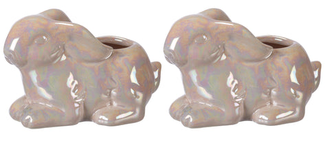 Bunny Stoneware Planter in Iridescent Light Pink | Suitable for Succulents | Pack of 2