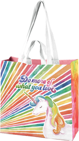 "Do More Of What You Love Large Market Tote Bag in '70s Unicorn Rainbow Design | 15.50"" x 15.25"" x 6"""