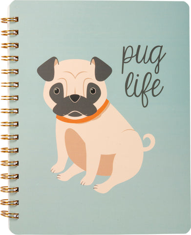 "Pug Life Spiral Notebook in Soft Blue | Stripe Print on Back | 9"" x 7"" 