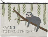 Say No To Doing Things / I'm Tired Therefore I Won't Sloth Design Recycled Material Cute/Cool/Unique Large/Jumbo Zipper Pouch/Bag/Clutch/Cosmetic Bag