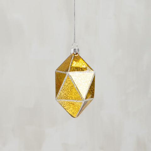 Faceted Crystal Gem Glass Holiday Ornament in Sheer Gold | 4.50""
