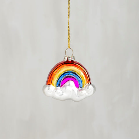 Glass Holiday Ornament in Glitter Rainbow