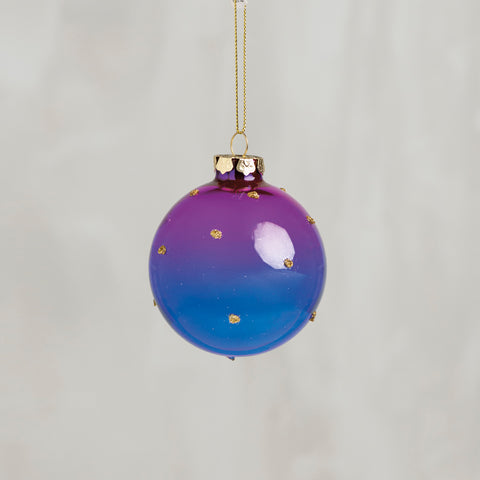 Purple and Blue Gradient Hanging Ball Glass Ornament