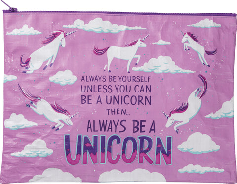 Always Be A Unicorn Zipper Folder Jumbo Pouch in Purple and Violet