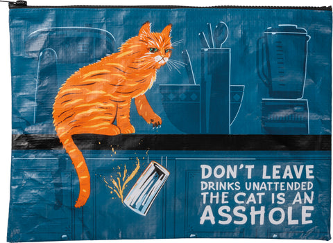 Don't Leave Drinks Unattended Zipper Folder Jumbo Pouch with Cat in Kitchen Design
