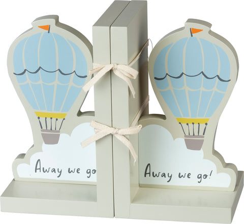 Away We Go Hot Air Balloon Book Ends | Wood with Rubber Bottom Feet to Prevent Slipping