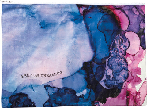 Keep On Dreaming Zipper Folder Jumbo Pouch with Watercolor Design