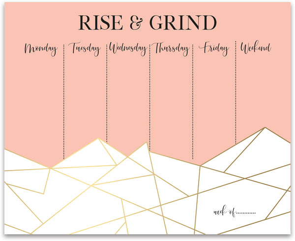 Rise & Grind Weekly Planner Notepad