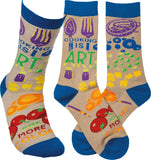 Cooking Is Art - Eat More Color Crew Socks in Multi-colored Produce Print
