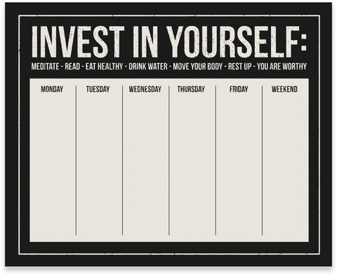 Invest In Yourself Weekly Planner Notepad