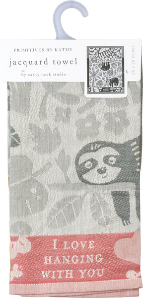 I Love Hanging With You Dish Towel with Sloth and Floral Design