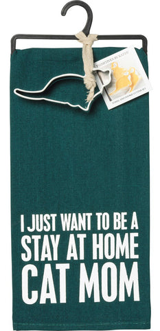 Stay At Home Cat Mom Dish Towel And Cat Shaped Cookie Cutter Set