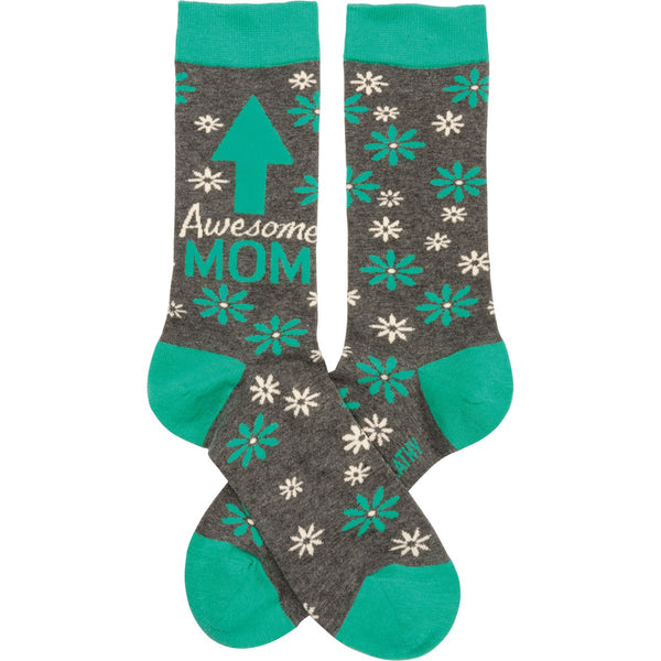 Awesome Mom Arrow Socks With Floral Design