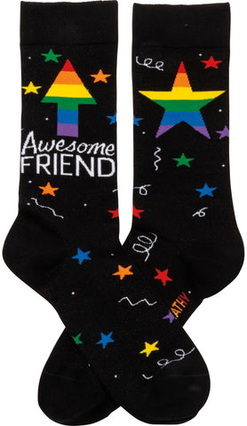Awesome Friend Stars Patterned Socks Black Colorful Funny Novelty Socks with Cool Design, Bold/Crazy/Unique Specialty Dress Socks