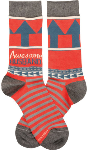 Awesome Husband Patterned Socks Funny Novelty Socks with Cool Design, Bold/Crazy/Unique/Quirky Specialty Dress Socks