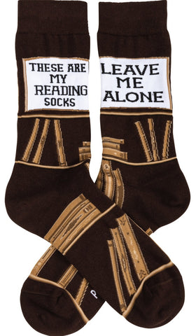 These Are My Reading Socks in Brown | Funny Novelty Socks with Cool Design | Bold/Crazy/Unique Dress Socks