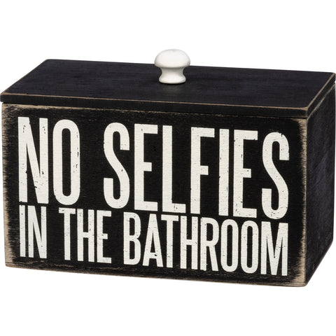 No Selfies In The Bathroom Wooden Divided Box | Use to Store Cotton Swabs, Cosmetics, Etc.