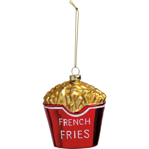 French Fries Hanging Glass Holiday Ornament