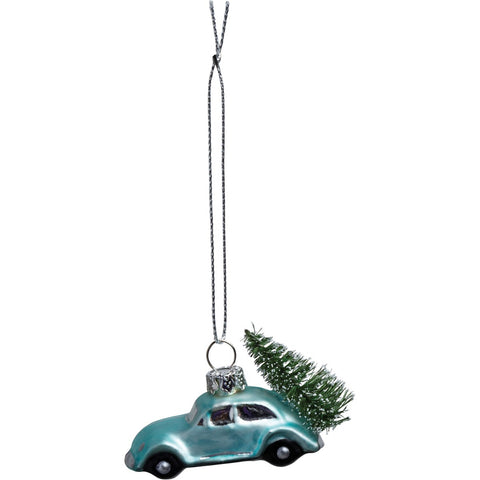 Blue Car Tree Glass Ornament