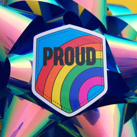 Proud Rainbow Vinyl Sticker With Rainbow Design