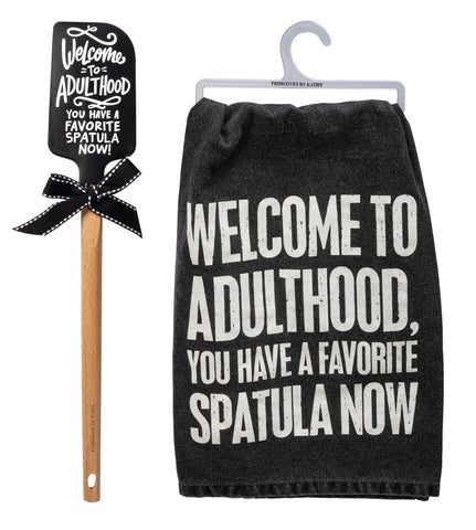 Welcome To Adulthood You Have A Favorite Spatula Now Wooden Handle + Dish Towel Gift Set Bundle