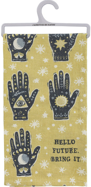 "Hello Future Bring It Mystical Hand Dish Cloth Towel | All-Over Astrology Design | 20"" x 26"""