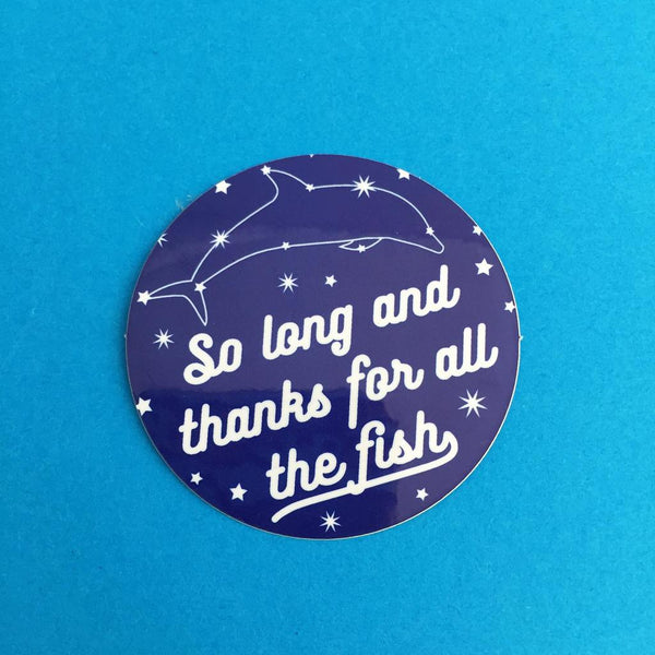 So Long And Thanks For All The Fish Dolphin Constellation Vinyl Sticker
