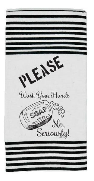 Please Wash Your Hands Twisted Terry Dish Towels in Black and White