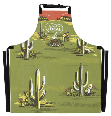 My Meat Is Local Retro Funny / Cute / Cool Apron with Pockets BBQ / Grill / Cooking Country Novelty Cute Old Fashioned Apron