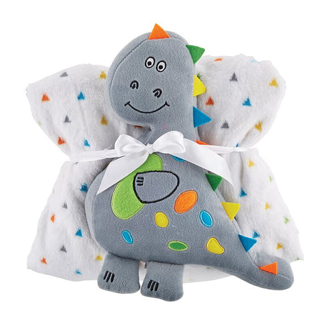 Dinosaur Soft Fleece Crib Baby Blanket and Toy Set | Unisex Baby Gift