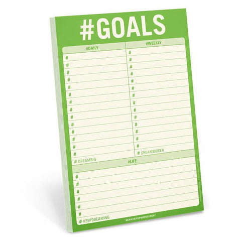 #Goals Notepad in Lime Green