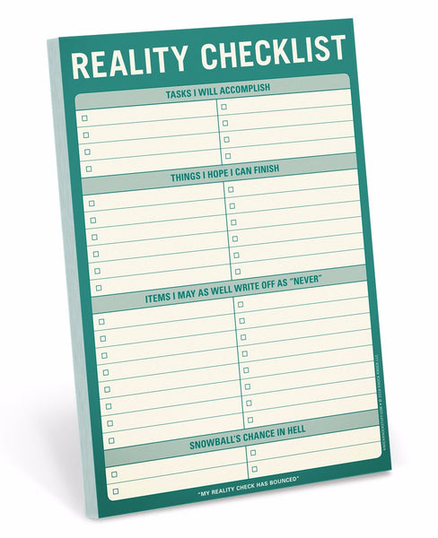Reality Checklist Notepad Stationery in Green