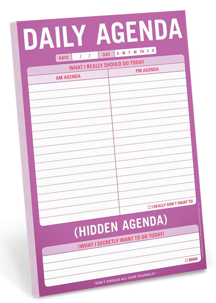 Daily Agenda vs. Hidden Agenda Notepad Stationery