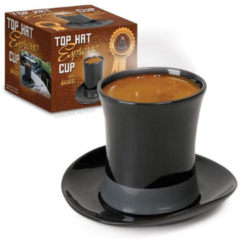 Top Hat Espresso Cup and Saucer in Black