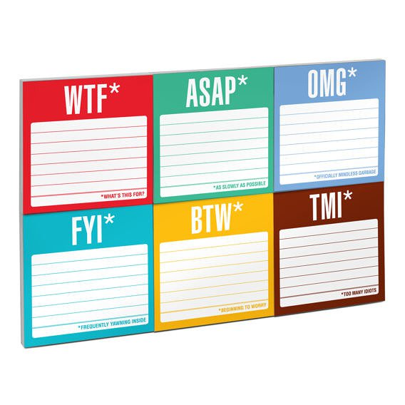 Honest Acronyms Sticky Note Packets in 6 Vivid Colors