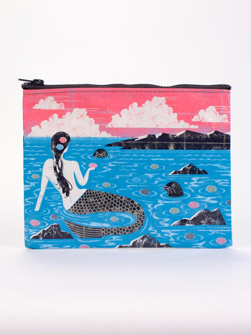 Mermaid Zipper Pouch in Ocean with Seals