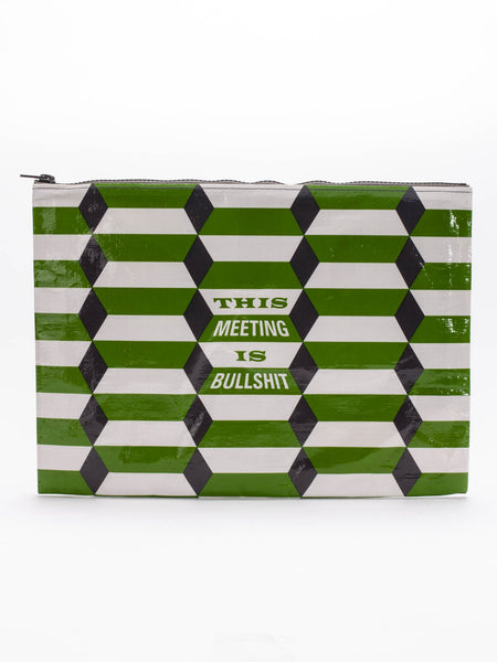 This Meeting Is Bullshit Recycled Material Cute/Cool/Unique Large/Jumbo Zipper Pouch/Bag/Clutch/Cosmetic Bag