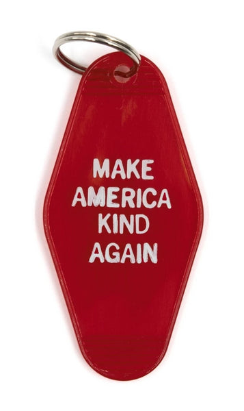 Make America Kind Again Red Translucent Motel Style Keychain