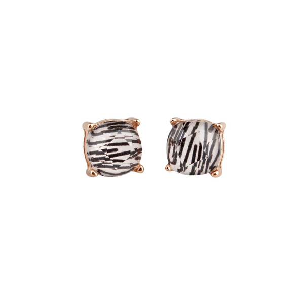 Zebra Stripes Square Stud Earrings