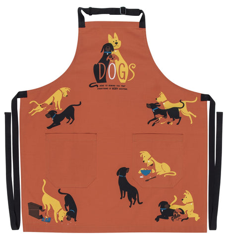 Dogs. Here To Remind You That Everything Is Exciting Retro Funny / Cute / Cool Apron with Pockets BBQ /Grill / Cooking Country Novelty Cute Old Fashioned Apron