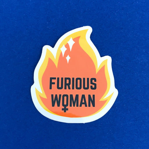 Furious Woman Vinyl Sticker in Flames Design