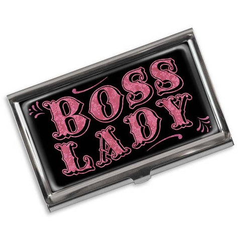 Boss Lady Vintage Business Card Holder in Pink and Black