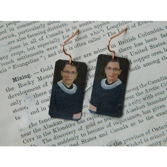 Ruth Bader Ginsburg Feminist Copper Earrings