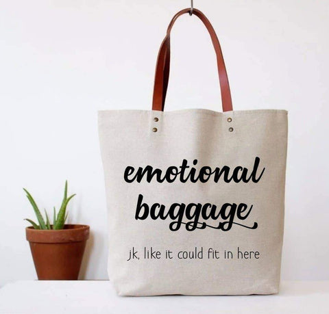 Emotional Baggage - JK, Like It Could Fit In Here Canvas Tote Bag | Vegan Leather Handles